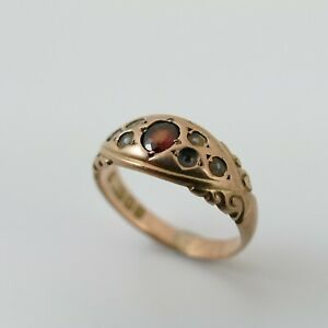 Antique 9ct Gold 375 Garnet & Seed Pearl Ring Full Hallmark 1906 Missing Stones