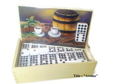 """Dominoes Set double 9. Artwork by Daysi """"Aroma"""" on top.  CCR"""