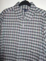 Gap Slim Fit Grey Check Long Sleeve Cotton Shirt Size Large Collar 16 - 16.5