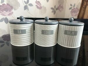 Set of 3 Grey Round Tea Sugar and Coffee Storage Tins Canister Jars New