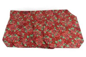 Set of 7 Poinsettia Holiday Table Linen Set Six Place Mats One Runner Red Green