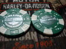 Green & White (Silver) Poker Chip Collier Harley Davidson Roanoke Rapids, NC