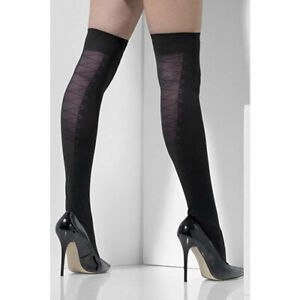 Adult Sexy Black Opaque Mock Lace Up Stocking Hold-Ups Tights Costume Accessory