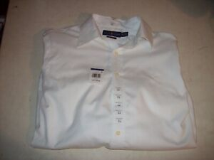 Ralph Lauren Polo Men's Large 16.5 32/33 White Logo Button Up Shirt NEW W/ TAGS