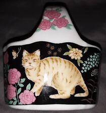 "Porcelain Trinket Basket Kitten Cat Decor Vanity Collectible Girls 3""L 3.5""H 2""W"