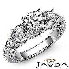 1.95ct Round Diamond 3 Stone Trellis Engagement Filigree Ring GIA F VS2 Platinum