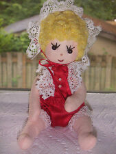 Vintage Handmade Hard Stuffed Button Jointed Adorable 7 In Cloth Baby Doll