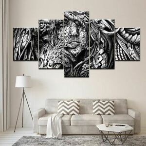 5 Panels Black and White Abstract Women Canvas Wall Art Game Poster Decoration