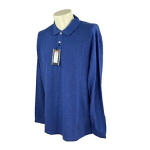 Roundtree Yorke Men's Mesh Pullover Long Sleeve Blue NWT Polo Shirt Large