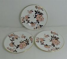 3 (Three) Vintage Crown Staffordshire Imari Coral Round Plates 16cm Diameter