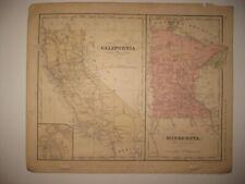 ANTIQUE 1866 CALIFORNIA MINNESOTA HANDCOLOR MAP SAN FRANCISCO DIEGO LOS ANGELES
