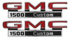 1971-1972 GMC Pick Up Truck Front Fender Emblem 1500 Custom Pair