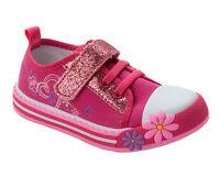 GIRLS PINK DENIM CANVAS FLORAL GLITTER TRAINERS PUMPS SHOES INFANTS UK SIZE 4-12