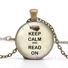 New Cabochon Glass Necklace bronze charm pendants:keep calm and read on