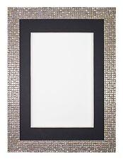 Plano Brillo Efecto Espejo mosaico Marco Foto a medida Soporte -perla PLATA