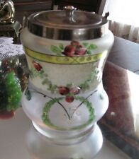 SUPERB ANTIQUE HAND PAINTED   CORALENE SATIN GLASS BISCUIT BARREL COOKIE JAR