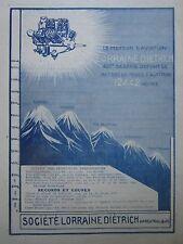 1927 PUB LORRAINE DIETRICH MOTEUR AVIATION RECORD ALTITUDE EVEREST MONT BLANC AD