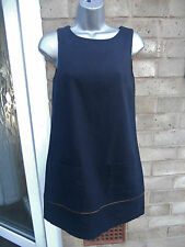 MISS SELFRIDGE ladies womens navy linen summer dress size 8 S sleeveless
