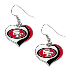 San Francisco 49ers swirl heart earrings dangle charm FAST USA SHIPPING