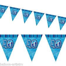 9ft BLUE Glitz 40th Birthday Pennant Flag Banner Bunting Decoration