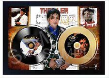 MICHAEL JACKSON Thriller Mini LP and Mini Gold LP Viny Record Signed Framed