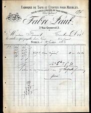 """NIMES (30) USINE de TAPIS & ETOFFES pour MEUBLES """"Paul FABRE"""" en 1883"""