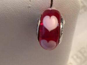 Pandora sterling silver Red Love Pink and Red Hearts Murano Glass Bead