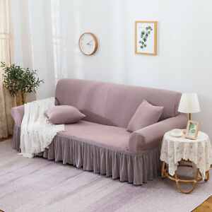 Furniture Sofa Covers Skirt Thicken 3 Seater Stretch Couches Pink Slipcover