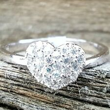 .925 Sterling Silver Ring size 7 CZ HEART Midi Engagement Promise Bridal r82