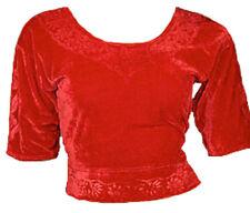 Rot Samt Top Choli für Bollywood Sari Gr. S bis 3XL