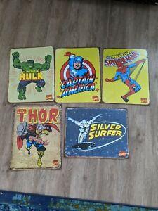 5 Marvel Metal Signs - Superman, Hulk, Captain America, Silver Surfer, Spiderman