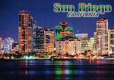 Skyline of San Diego California at Night, Emerald Plaza etc., Bay, CA - Postcard