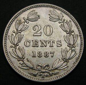 NICARAGUA 20 Centavos 1887 H - Silver - XF - 1130