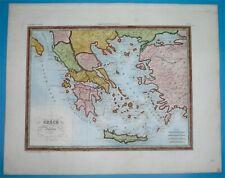 1846 NICE ORIGINAL MAP GREECE AEGEAN ISLANDS PELOPONNESE CANDIA ZANTE CRETA