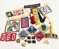 Vintage Boy / Cub Scout Lot: Patch, Pin, Webelos, Tiger, Bear, Pine Tree, Flag