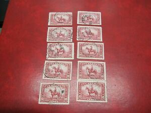 """Canada Unitrade # 223 10c KING GEORGE V """"PICTORI"""" ISSUE ( RCMP) 1O USED STAMPS"""