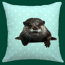 "CUSHION (pad included) CUTE FUNNY OTTER GREEN WITH WHITE POLKA DOT 12"" PILLOW"