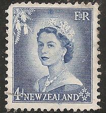 "New Zealand Stamp - Scott #293/A117 4p Blue ""Queen Elizabeth II"" Used/NH 1953"