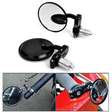 """MOTORCYCLE SPORT BIKE BLACK 3"""" ROUND HANDLE BAR END MIRRORS CAFE RACER CLUBMAN"""