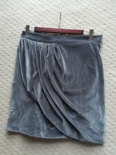 •Karla Spetic• Grey Velour Velvet Draped Front Mini Skirt SZ 10 S EUC RRP$385