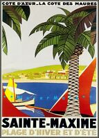 Sainte Maxime 1930 France Vintage Poster Print Wall Art Decor Winter and Summer