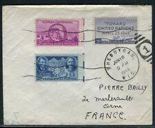 Etats Unis - Enveloppe de Sheboygan pour la France en 1945 - ref D246