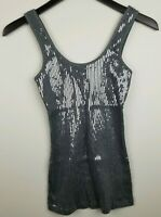 Express Gray Sequin Scoop Neck Sleeveless Tank Top Women's Size XS