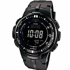 Casio Pro Trek Men's Tough Solar Triple Sensor Black Resin 47mm Watch PRW3000-1A