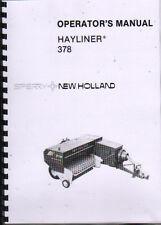"New Holland ""Hayliner 378"" Baler Operator Instruction Manual Book"