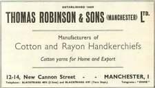 1955 Thomas Robinson And Sons Cotton Rayon Handkerchiefs Manchester