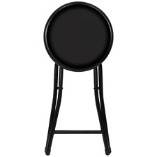 """18"""" Black Cushioned Folding Bar Stool Spring Action Secure Lock Home Furniture"""