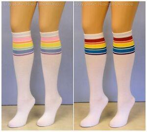 Leg Avenue Rainbow Stripes Athletic Referee Sports Knee High Socks Fancy Dress