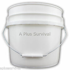 3.5 Gallon White Food Grade Storage Bucket - No Lid - Survival Ration Rice Beans