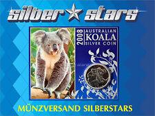1 AU Dólar Plata Koala 1oz onza plata 2008 en Blister COINCARD RARO